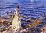 girl fishing by john singer sargent paintings-79178