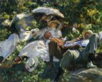 group with parasols by john singer sargent painting