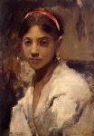 head of a capri girl by john singer sargent painting