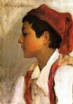 head of a neapolitan boy in profile by john singer sargent painting