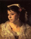 head of an italian woman by john singer sargent painting