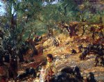 ilex wood at majorca with blue pigs by john singer sargent painting