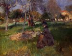 in the orchard by john singer sargent painting