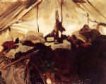 inside a tent in the canadian rockies by john singer sargent painting