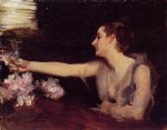 madame gautreau drinking a toast by john singer sargent painting
