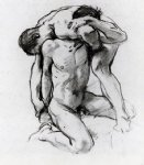 male nudes wrestling by john singer sargent painting