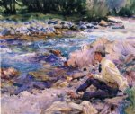 man seated by a stream by john singer sargent painting