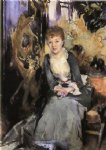 miss reubell seated in front of a screen by john singer sargent painting