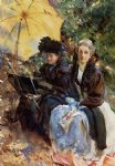 miss wedewood and miss sargent sketching by john singer sargent painting
