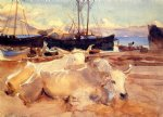 john singer sargent oxen on the beach at baia painting 30658