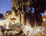 oxen resting by john singer sargent painting