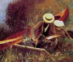 paul helleu sketching with his wife by john singer sargent painting