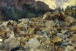 purtud alpine scene and boulders by john singer sargent painting