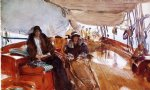 rainy day on the deck of the yacht constellation by john singer sargent painting