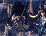 shoeing the ox by john singer sargent painting