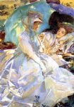 simplon pass reading by john singer sargent painting