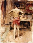 the model interior with standing figure by john singer sargent painting