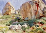 the simplon large rocks by john singer sargent painting