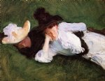 two girls lying on the grass by john singer sargent painting
