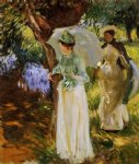 john singer sargent two girls with parasols at fladbury painting