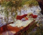 two women asleep in a punt under the willows by john singer sargent painting