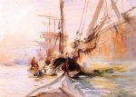 unloading boats venice by john singer sargent painting