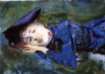 violet resting on the grass by john singer sargent painting