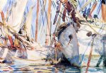 white ships by john singer sargent painting