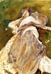 woman reclining by john singer sargent painting