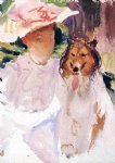 woman with collie by john singer sargent paintings-30892