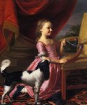 young lady with a bird and dog by john singleton copley paintings-30199