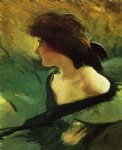 john white alexander young girl in green dress painting