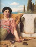 john william godward a quiet pet detail painting-77313