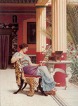 art oil paintings - the jewel casket by john william godward