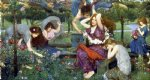 flora and the zephyrs by john william waterhouse painting
