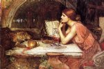 sketch of circe by john william waterhouse painting