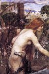 woman picking flowers by john william waterhouse painting