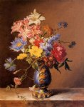 josef nigg flowers in a blue vase painting