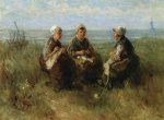 three women knitting by the sea by jozef israels painting