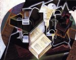 book pipe and glasses by juan gris painting