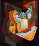 juan gris bottle wine glass and fruit bowl paintings: 29795