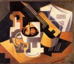 juan gris guitar and fruit bowl on a table painting