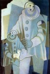two pierrots by juan gris painting