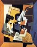 violin and glass by juan gris painting