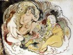 oriental paintings - an oriental and his women by jules pascin