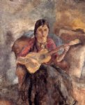 jules pascin gypsy with a guitar painting