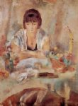 jules pascin portrait of lucy at a table painting 29707