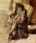 seated young woman ii by jules pascin painting