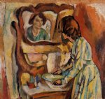 woman washing herself by jules pascin painting