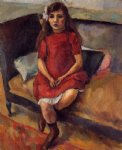 young girl in red by jules pascin painting